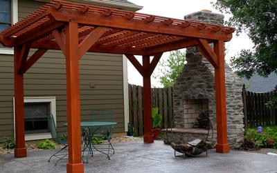 Outdoor living pergola and patio