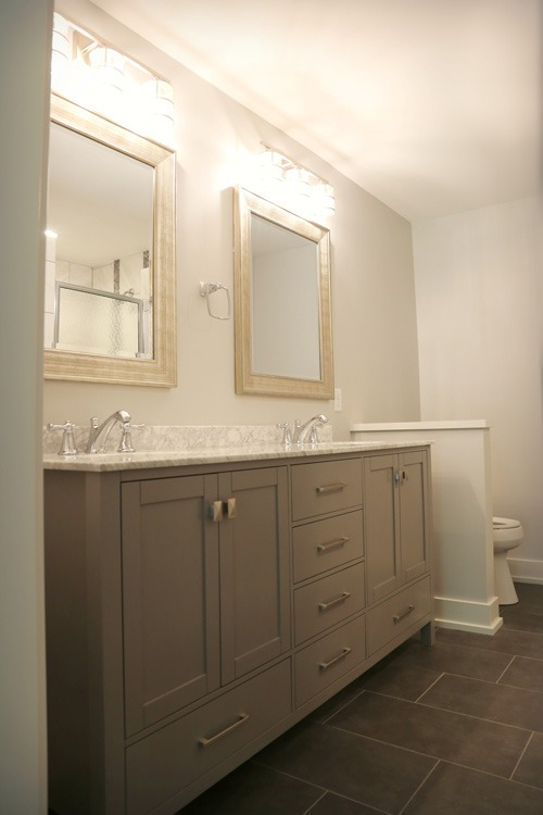 Full bathroom with double sink vanity