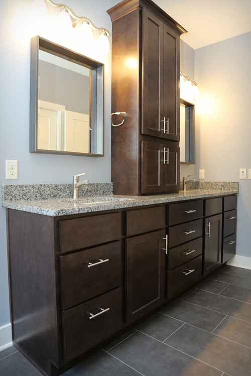 Double sink vanity with extra storage cupboards
