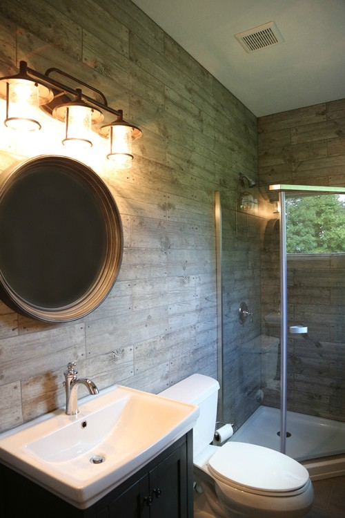 Rustic bathroom with stand up shower