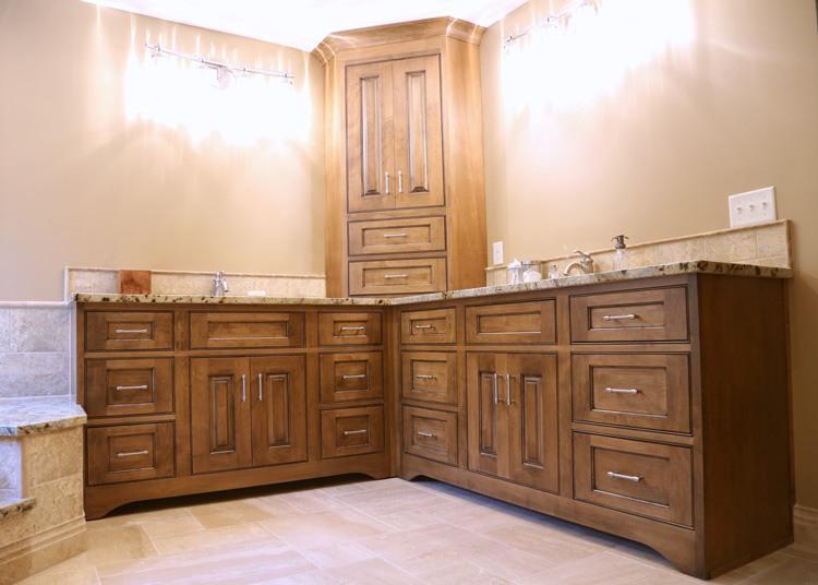 Master bathroom double vanity with extra storage