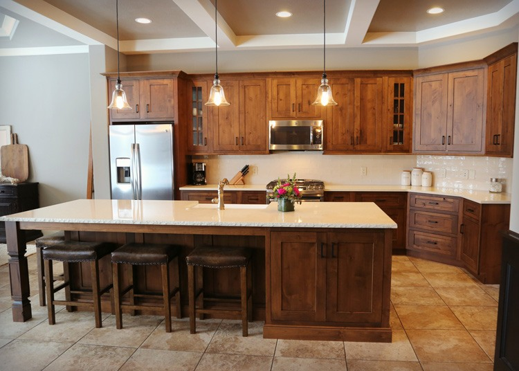 Customized kitchen island with bar seating
