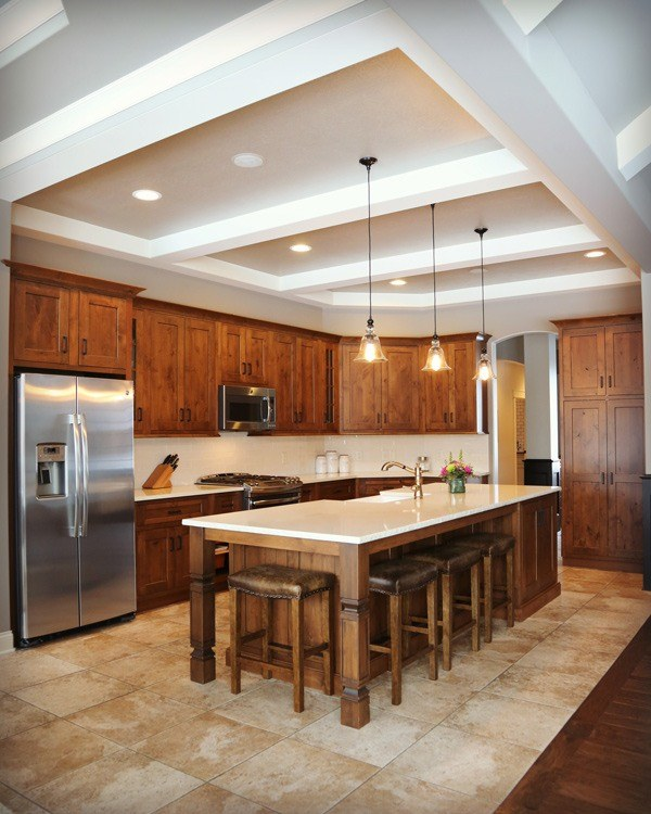 Customized kitchen with vaulted ceilings