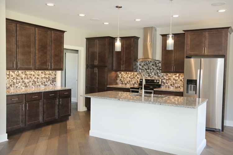 Full kitchen view with center island