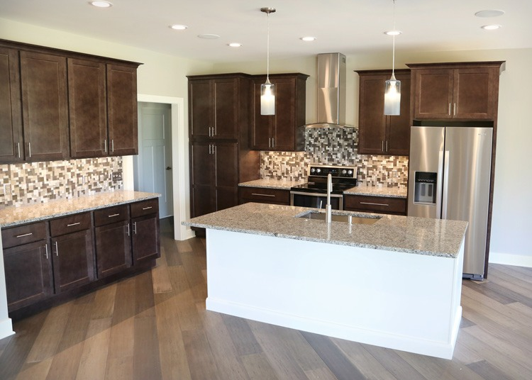 Kitchen island with overhang countertop for bar seating