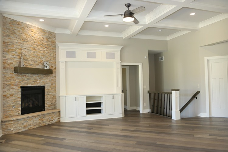 Living room with custom entertainment center and fireplace